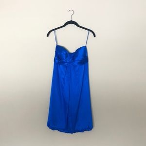 Cache Silk Strapless Royal Blue Short Empire Dress